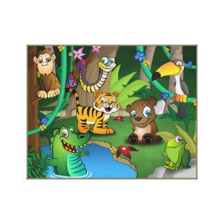 Selva del reino animal impresión en lienzo