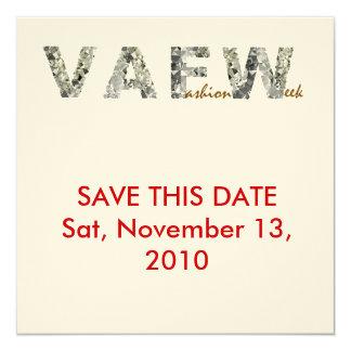 Semana de la moda del VA Invitación 13,3 Cm X 13,3cm