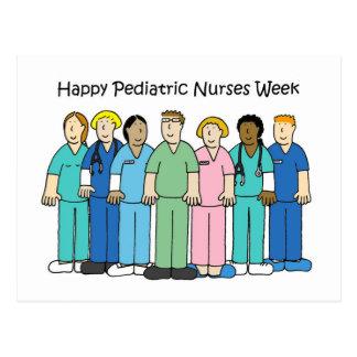 Semana pediátrica feliz de las enfermeras postal