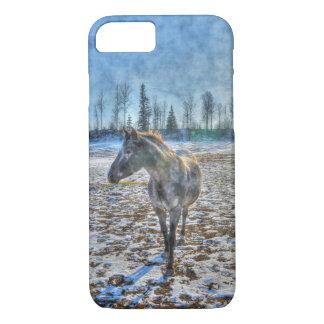 Semental en el caballo de la nieve - arte equino funda iPhone 7