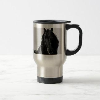 Semental negro taza de viaje