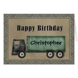 Semi tarjeta de cumpleaños del camión