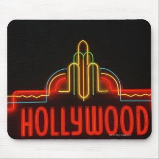 Señal de neón de Hollywood, Los Ángeles, Californi Alfombrilla De Ratón