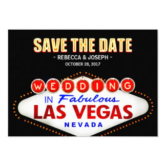 Señal de neón de Las Vegas - ahorre el boda de la Invitación 12,7 X 17,8 Cm