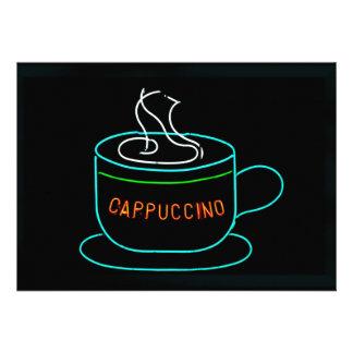 Señal de neón del Cappuccino