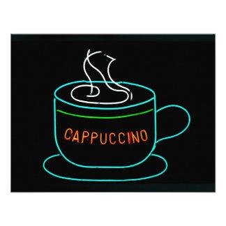 Señal de neón del Cappuccino Comunicado Personalizado