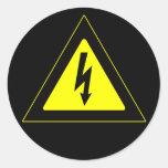Señal de peligro de alto voltaje etiquetas redondas