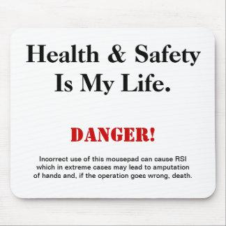 Señal de peligro del chiste de salud y de la segur tapetes de ratón