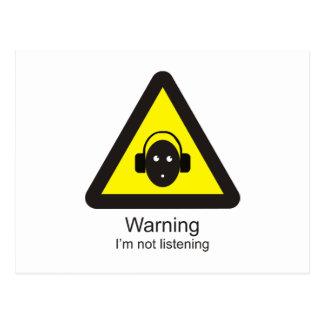 Señal de peligro divertida 'que advierte: No soy Postal