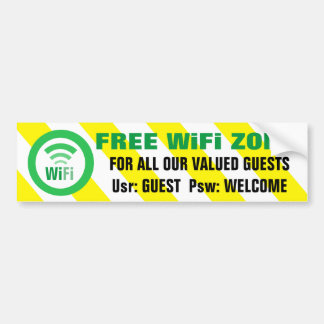 Señal de peligro libre de la zona de WiFi Pegatina Para Coche
