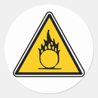Señal de peligro oxidante pegatina redonda