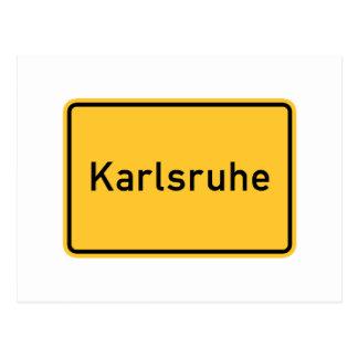 Señal de tráfico de Karlsruhe, Alemania Postal