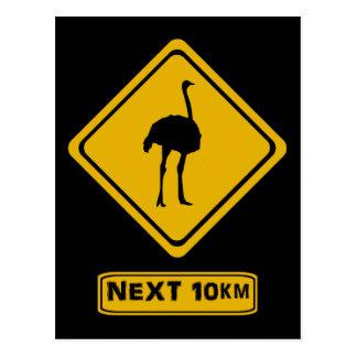 señal de tráfico de la avestruz postal