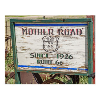 Señal de tráfico de la madre - ruta 66 postal