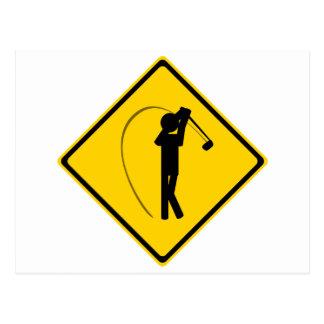 Señal de tráfico del golfista postal