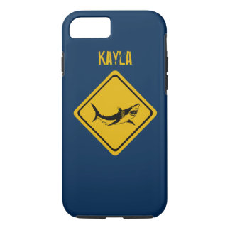 señal de tráfico del tiburón funda iPhone 7
