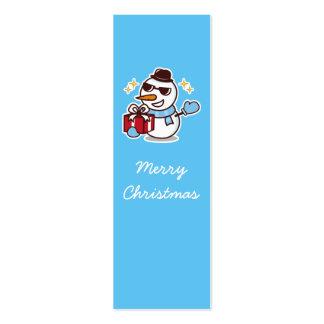 Señal del muñeco de nieve del navidad tarjetas de visita mini