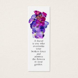 Señal púrpura del Wallflower Tarjeta De Visita Mini