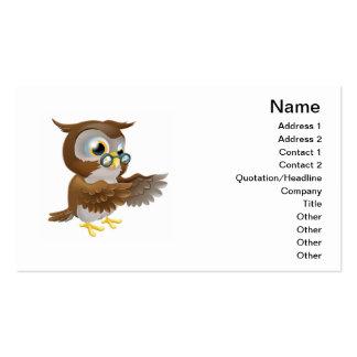 Señalar el búho lindo del dibujo animado plantilla de tarjeta personal