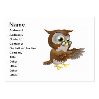 Señalar el búho lindo del dibujo animado plantillas de tarjetas de visita