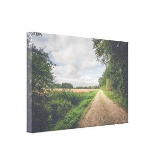 Sendero en un paisaje del campo impresión en lienzo