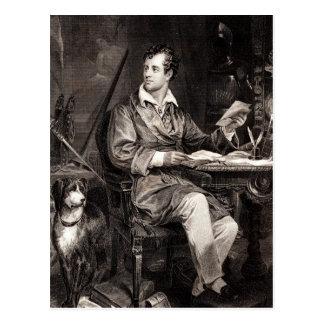 Señor Byron Portrait Victorian Poet de los 1800s Postal