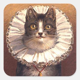 Señor Feline Sticker Pegatina Cuadrada