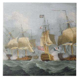 Señor Howe en la reina Charlotte, rompiendo el Ene Azulejo Cuadrado Grande