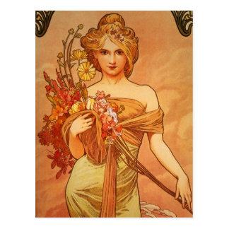 Señora agraciada con la postal del vintage de las