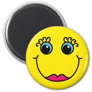 Señora amarilla Smiley Face Imanes