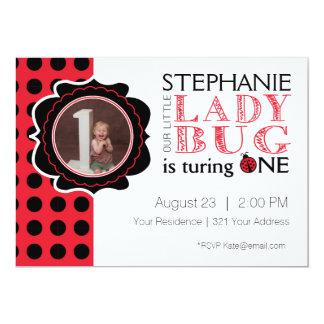 Señora Bug First Birthday Invitation Invitación 12,7 X 17,8 Cm
