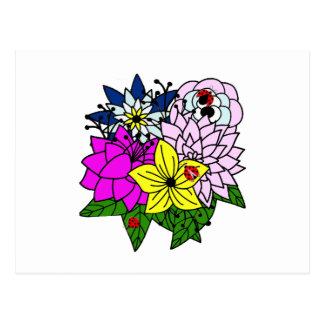 Señora Bug Flower Bouquet Postal