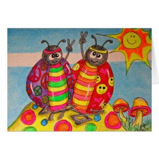 Señora Bugs Art del Hippie de la paz y del amor Tarjetas
