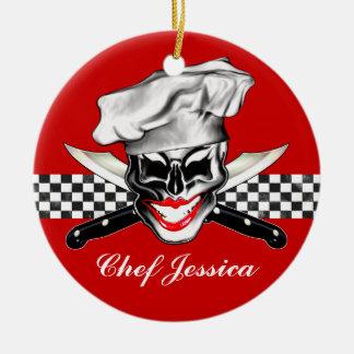 Señora Chef Skull Adorno Redondo De Cerámica