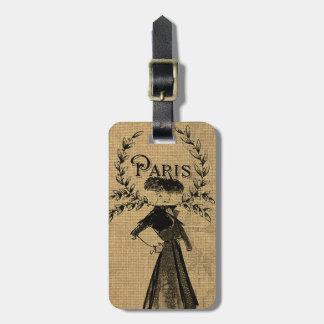 Señora clásica de París del vintage Etiqueta Para Maletas