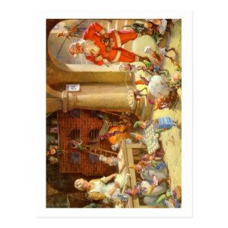 Señora Claus y duendes de Santas que cuecen las ga Postales