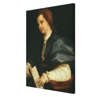 Señora con el libro del verso por Petrarch, c.1514 Impresión En Lienzo