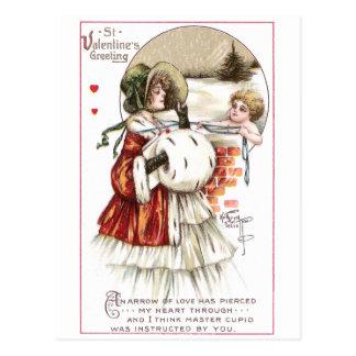 Señora con el manguito y el Cupid Postal