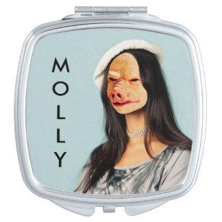 """Señora conocida Mirror del cerdo de """"Molly"""" Espejo De Viaje"""