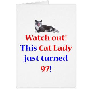 Señora de 97 gatos tarjeta de felicitación