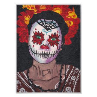 Señora de Dia De Los Muertos Red Arte Con Fotos
