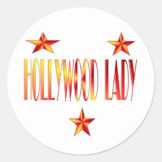 señora de hollywood pegatina redonda