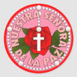 Señora de La Paz Pegatina Redonda