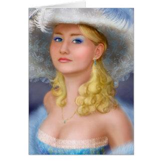 Señora de la tarjeta en azul