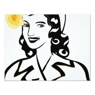 señora de los años 40 invitación 10,8 x 13,9 cm