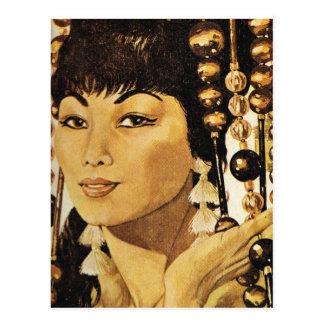 Señora de oriental del vintage postal