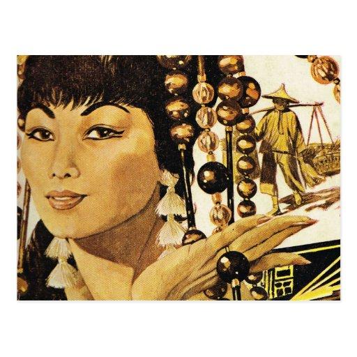 Señora de oriental del vintage postales