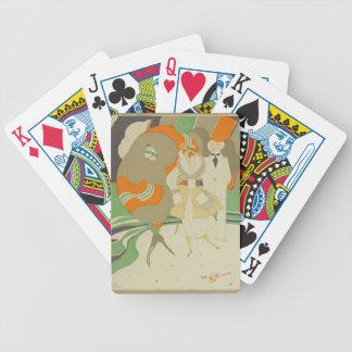 Señora del art déco - trajes grandes que llevan cartas de juego