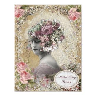 Señora del brunch del día de madre con las joyas y invitación 10,8 x 13,9 cm
