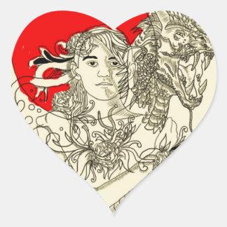 señora del dragón pegatina en forma de corazón